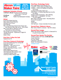 Akron Mini Maker Faire 2014 Schedule