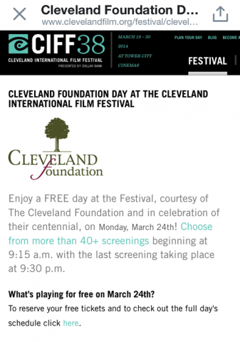 Cleveland Foundation free day at the Cleveland International Film Festival (CIFF)!