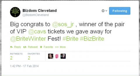 Big congrats to @sos_jr, winner of the pair of VIP @cavs tickets we gave away for @BriteWinter Fest! #Brite #BizBrite