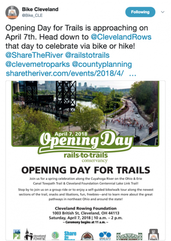 Bike Cleveland's Tweet - Opening Day for Trails Cleveland