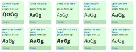 Google Fonts added by Drupal @font-your-face Module