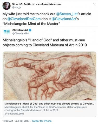 "I earned from Steven Litt about Michelangelo's ""Hand of God"" coming to Cleveland!"