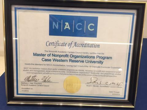 Congratulations, Case Western Reserve Master of Nonprofit Organizations (MNO) program, for receiving NACC accreditation!