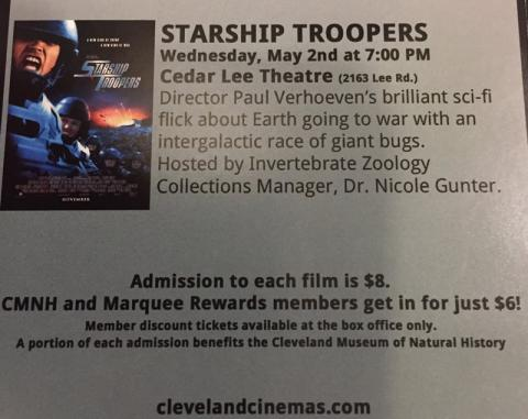 4) Wednesday, May 2, 2018 - Starship Troopers at Cedar Lee Theatre