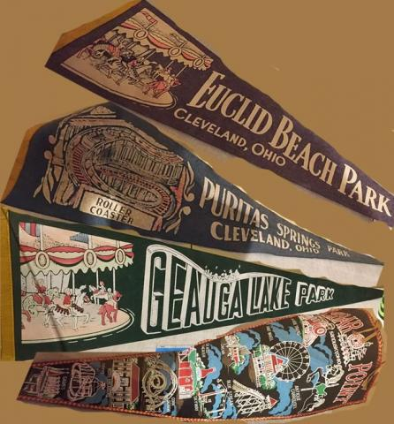 Amusement park pennants displayed at the Dennison Railroad Depot Museum