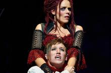 Sara M. Bruner (as Mrs. Lovett) and Chris Cowan (as Tobias Ragg)