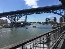 The Trust for Public Land Offices have this incredible view of the Cuyahoga River!